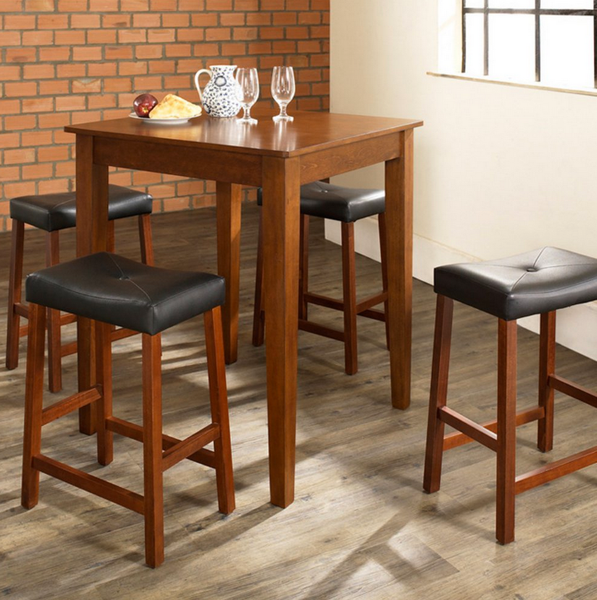 5-Piece Pub Set Upholstered Saddle Stools - Christian's Table