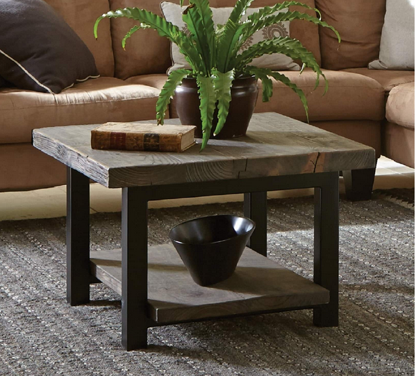 Metal And Reclaimed Wood Square Coffee Table - Christian's Table