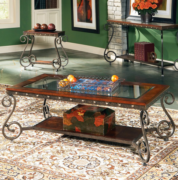 Rectangle Coffee Table With Glass Top - Christian's Table