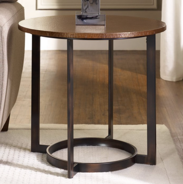 Round Hammered End Table - Christian's Table