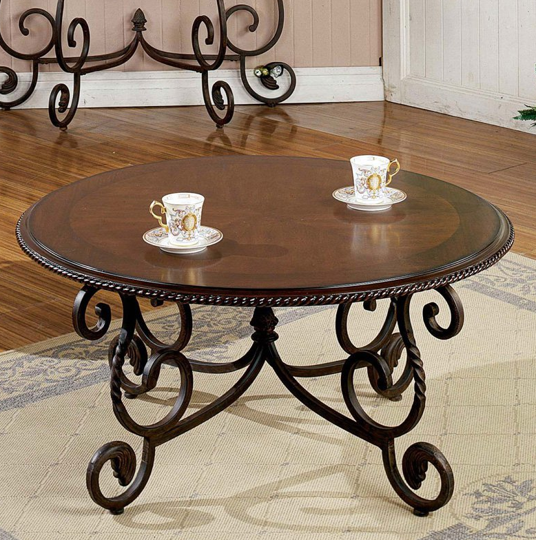 Round Wood and Metal Coffee Table - Christian's Table