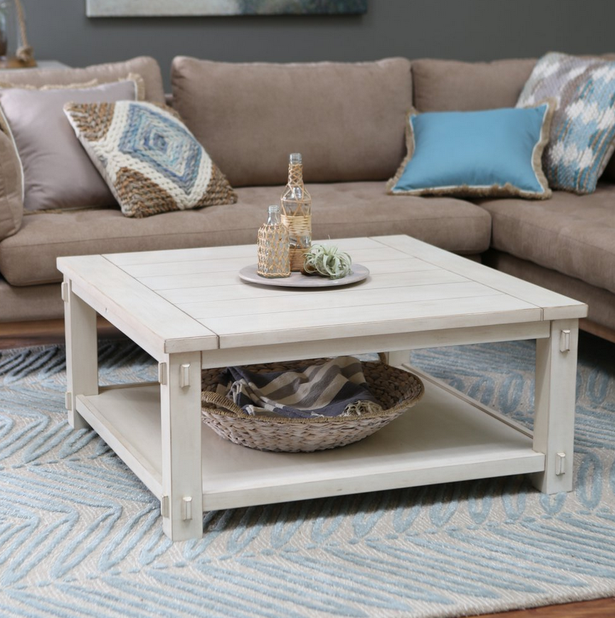 Cottage White Square Coffee Table - Christian's Table