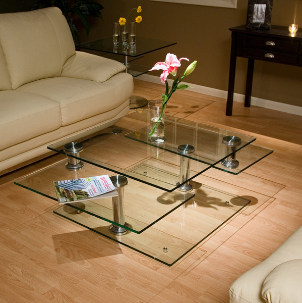 Large Square Glass Coffee Table - Expandable Motion - Christian's Table