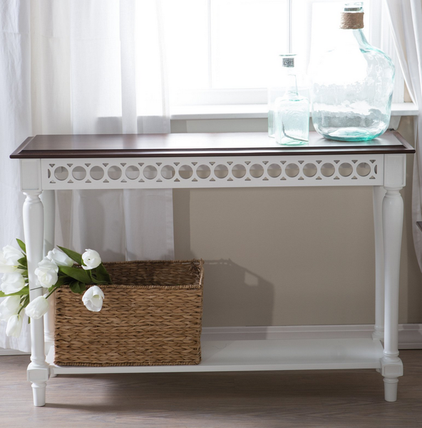 Walnut White Console Table - Christian's Table