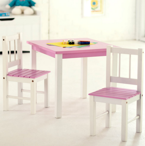 Kids Small Table and Chair Set Pink And White