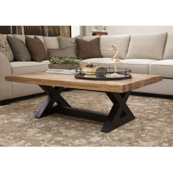 Coffee Table Rustic Brown Top Black Base - Christian's Table