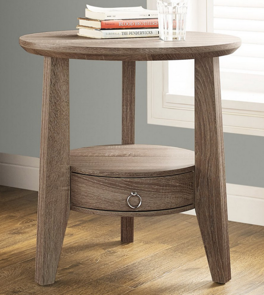 taupe round end table with drawer