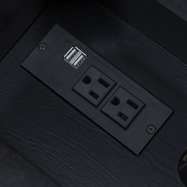 Black End Table with USB Ports and Power Outlets - Christian's Table