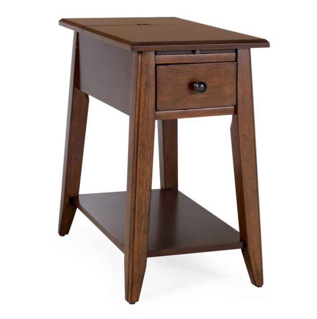 Black End Table with USB Ports and Power Outlets