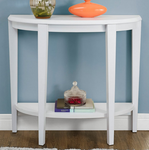 White half circle entry table