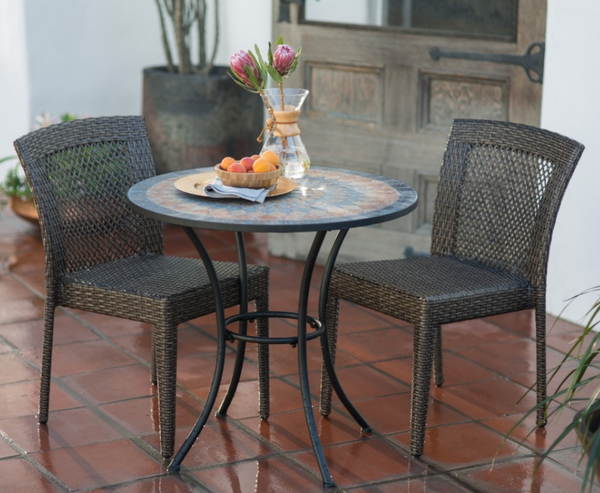 Wicker and Stone Mosaic Patio Set - Christian's Table