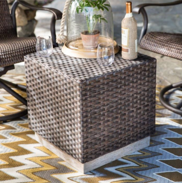 wicker coffee table cube