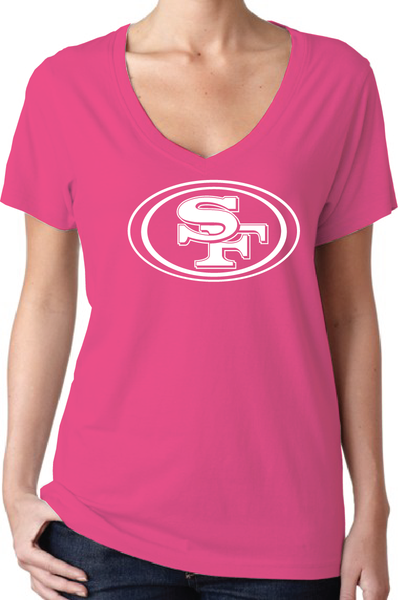 San Francisco 49ers Style Pink Women's V-Neck Logo T-Shirt/Jersey