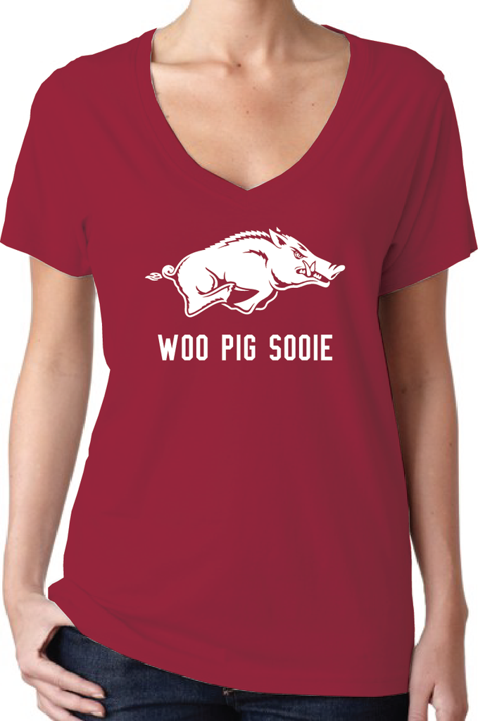 Pig Sooie Arkansas Razorbacks Style Women's V-Neck T-Shirt/Jersey All Sizes XS - XXL