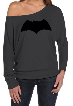 Justice League Batman Logo Women's Off The Shoulder Long Sleeve Slouch T-Shirt Sexy