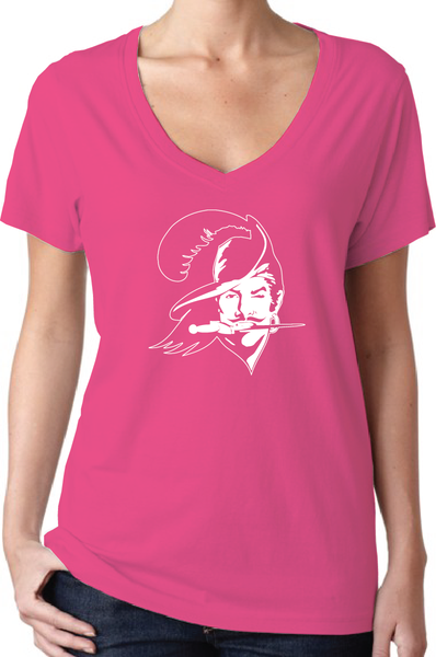 Tampa Bay Buccaneers Throwback Style Pink Women's V-Neck Logo T-Shirt/Jersey