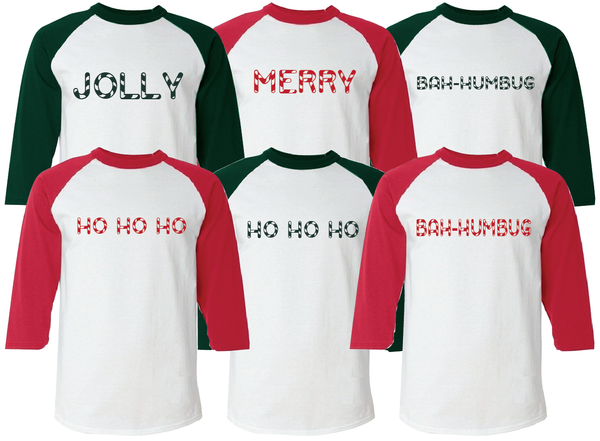 Christmas Adult Pajama Tops Graphic Raglan Sleeve T-Shirt S-XXL