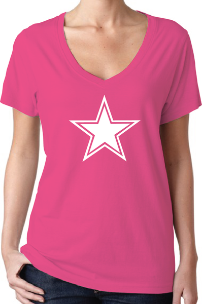 Dallas Cowboys Style Pink Women's V-Neck Logo T-Shirt/Jersey