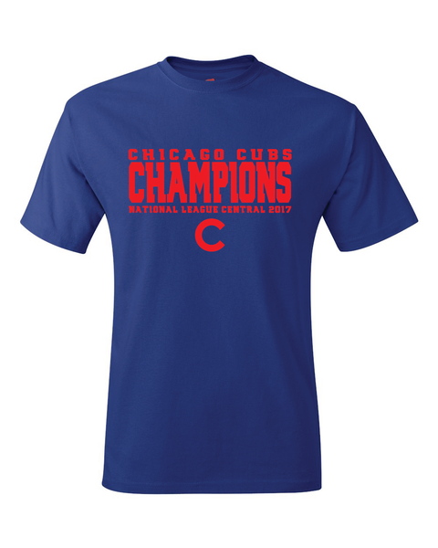Chicago Cubs 2017 National League Central Division Champions T-Shirt