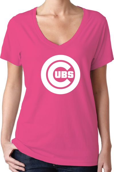 Chicago Cubs Style Pink Women's V-Neck Logo T-Shirt/Jersey