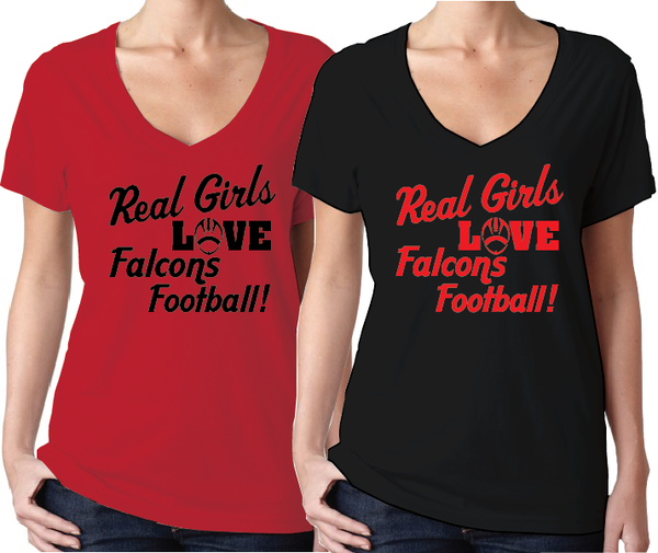 Atlanta Falcons Real Girls Falcons Football Women's V-Neck Red or Black T-Shirt