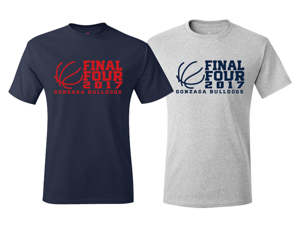 Gonzaga Bulldogs 2017 Final Four T-Shirt Navy Or Ash Gray March Madness