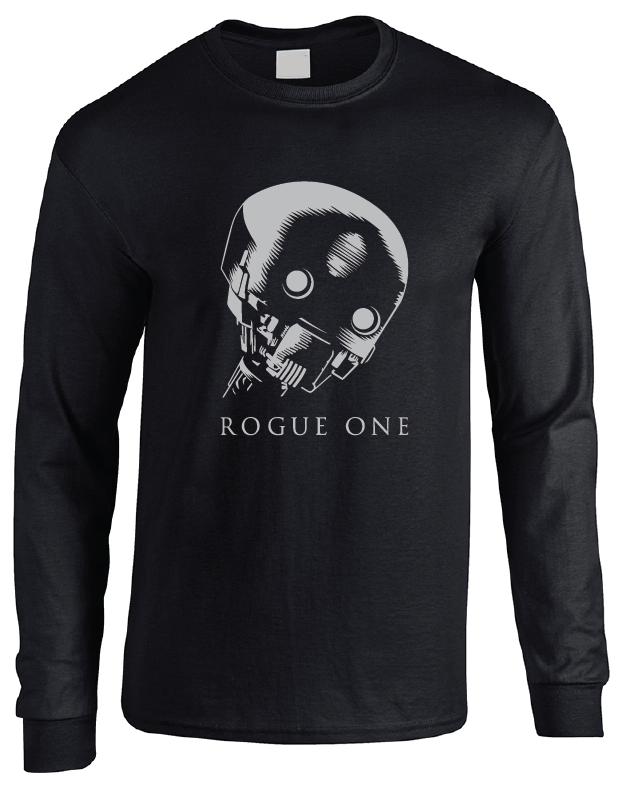 Star Wars Rogue One K-2SO (Kay-Tuesso) Black Long Sleeve T-Shirt