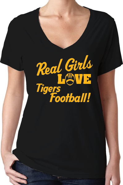 Missouri Tigers Style Women's Black V-Neck T-Shirt Mizzou