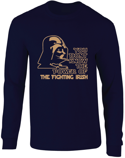 Notre Dame Fighting Irish Darth Vader Star Wars Style Long Sleeve T-Shirt