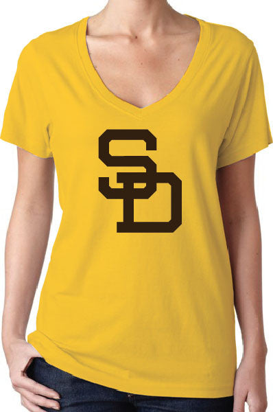 San Diego Padres Throwback Style Women's V-Neck Logo T-Shirt/Jersey