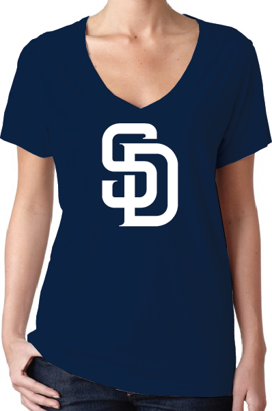 San Diego Padres Style Women's V-Neck Logo T-Shirt/Jersey