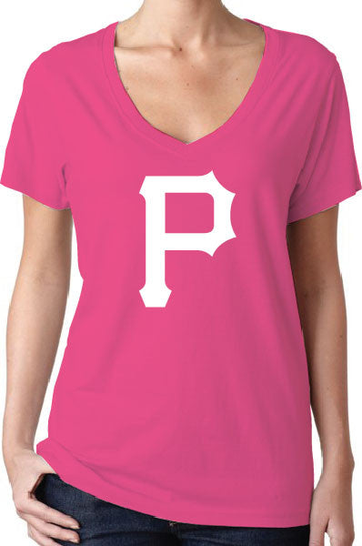 Pittsburgh Pirates Style Pink Women's V-Neck Logo T-Shirt/Jersey