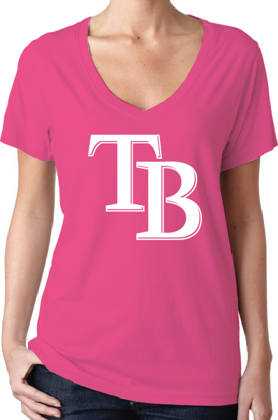 Tampa Bay Rays Style Pink Women's V-Neck Logo T-Shirt/Jersey
