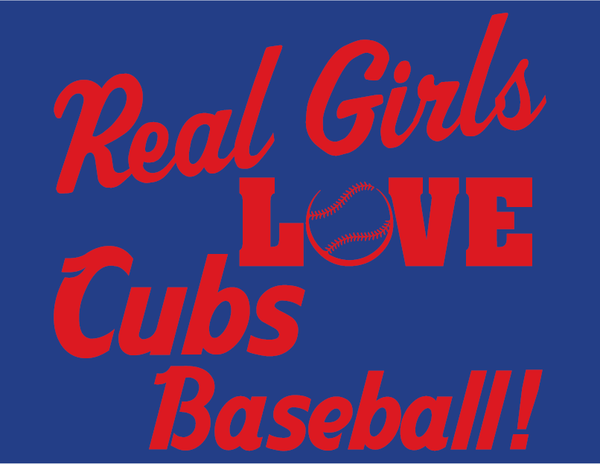 Chicago Cubs Real Girls Love Cubs Baseball Women's V-Neck T-Shirt