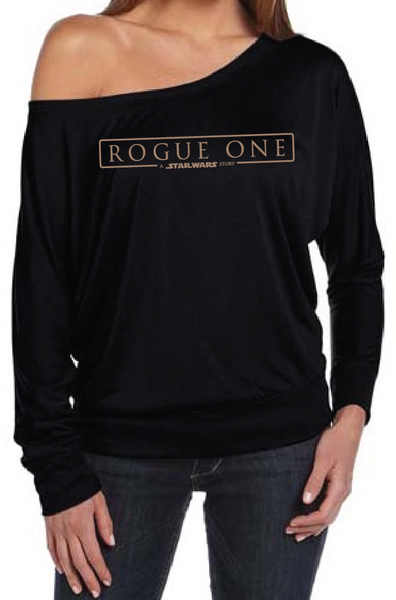 Star Wars Rogue One Women's Off The Shoulder Long Sleeve Slouch T-Shirt Sexy