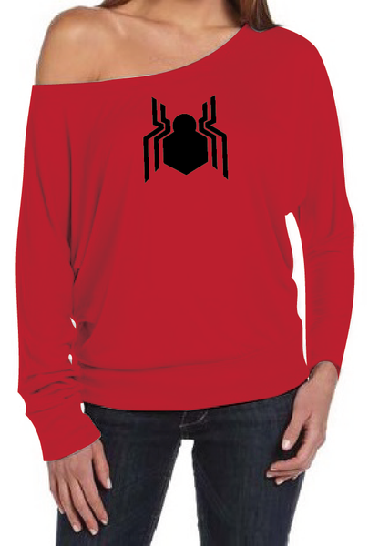 Spiderman Homecoming Logo Women's Off The Shoulder Long Sleeve Slouch T-Shirt Sexy