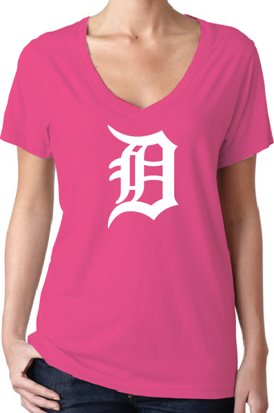 Detroit Tigers Style Pink Women's V-Neck Logo T-Shirt/Jersey