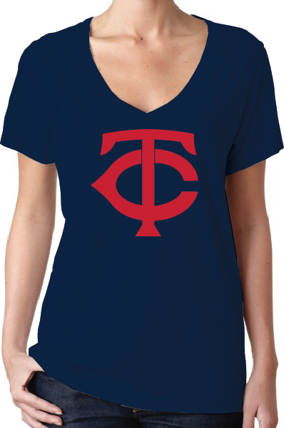 Minnesota Twins Style Women's V-Neck Logo T-Shirt/Jersey