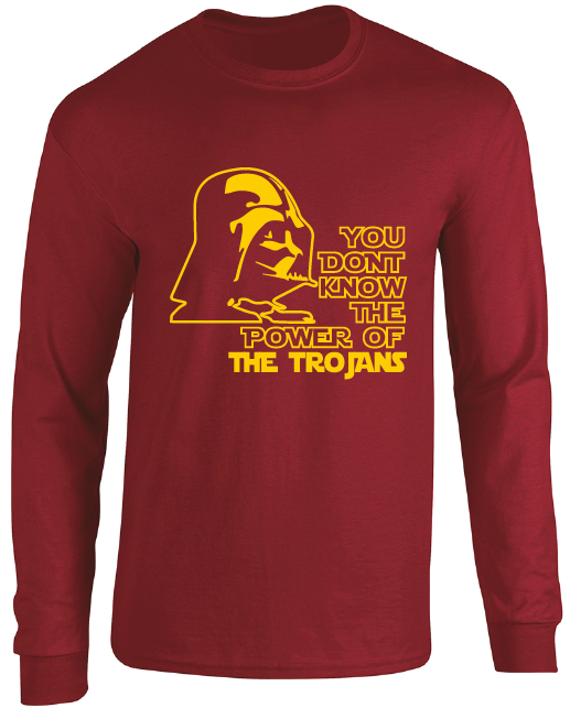 USC Trojans Darth Vader Star Wars Style Long Sleeve T-Shirt