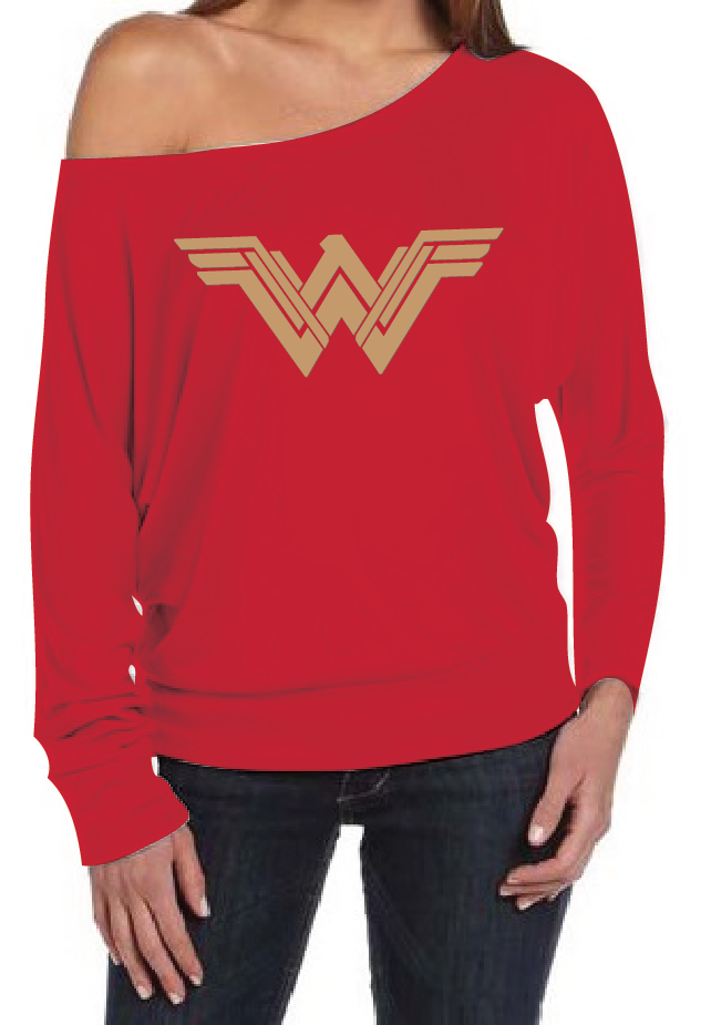 Wonder Woman Logo Women's Off The Shoulder Long Sleeve Slouch T-Shirt Sexy