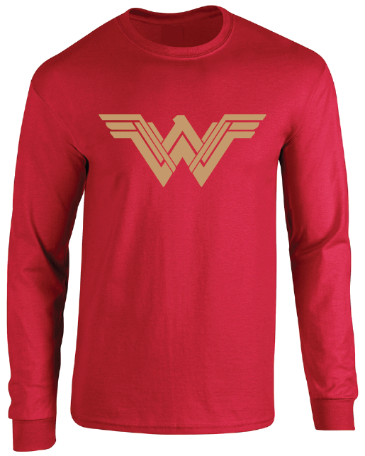 Wonder Woman New Logo Women's Red Adult Unisex Long Sleeve T-Shirt