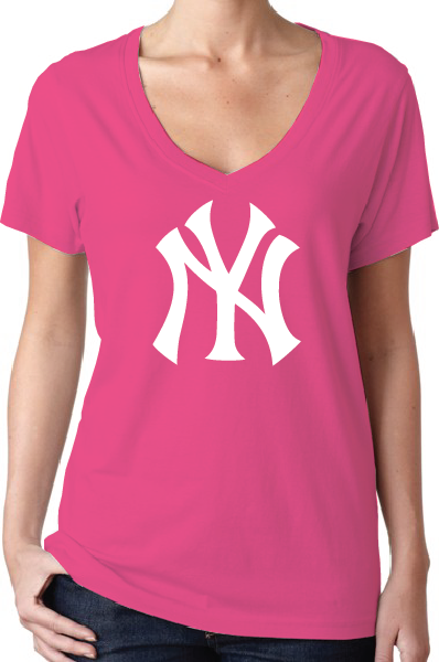 New York Yankees Style Pink Women's V-Neck Logo T-Shirt/Jersey