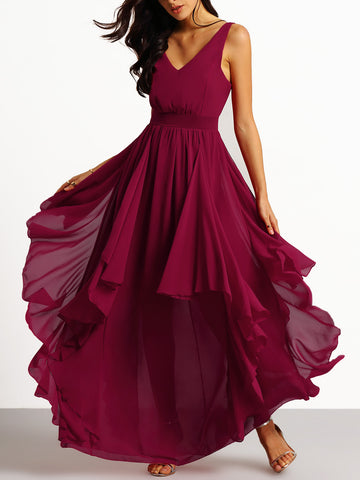Burgundy V Neck Maxi Chiffon Dress Homecoming