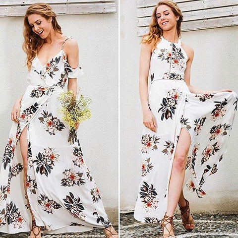 Floral Print Halter Chiffon Long White Split Dress