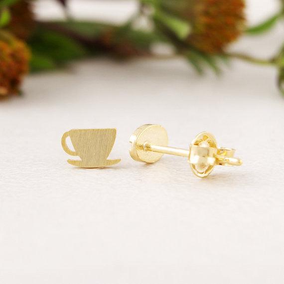 Coffee Cup and Bean Earrings for Women
