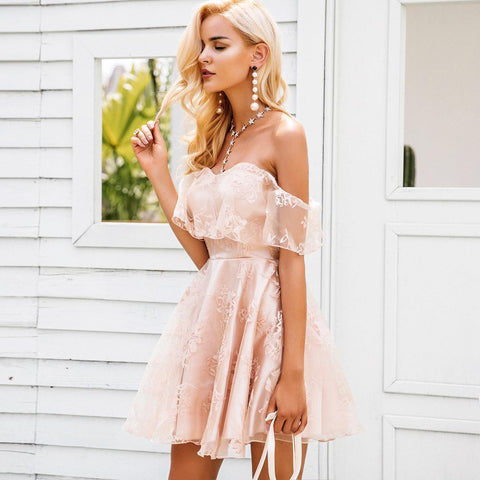Off Shoulder Flower Embroidery Double Dress High Waist Backless Summer