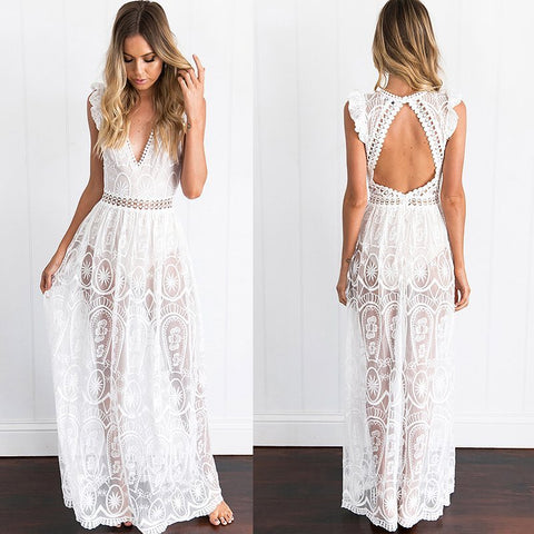 Sexy White Lace Open Back Full Length Dress