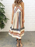 Multicolor Contrast Stripe Print Sleeveless Midi Dress