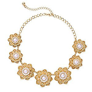 Orange Rhinestone Flower Crystal Accented Pearl Fashion Necklace