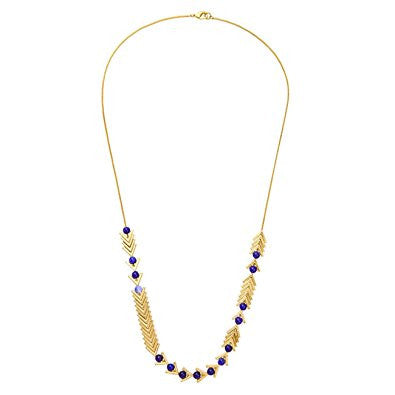 Golden Chain and Blue Tone Triangle Pendant Necklace